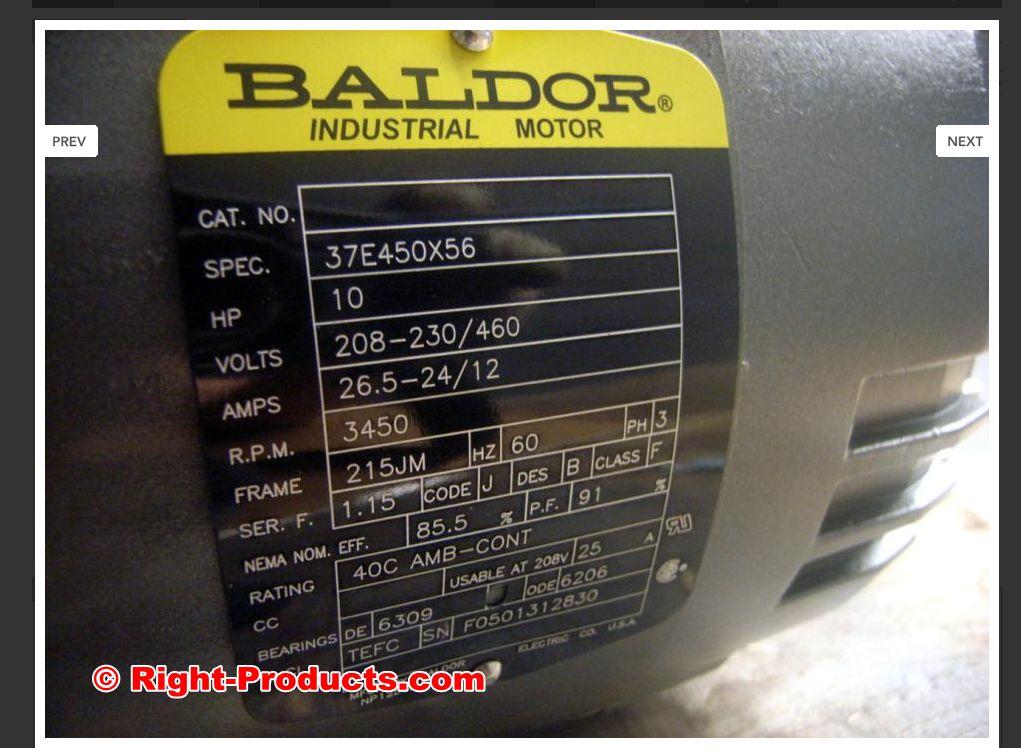 baldor 10hp 3ph high speed ac motor half price rh right products com Baldor Phase Converters Fdl3612tm Baldor Capacitor Wiring Diagram