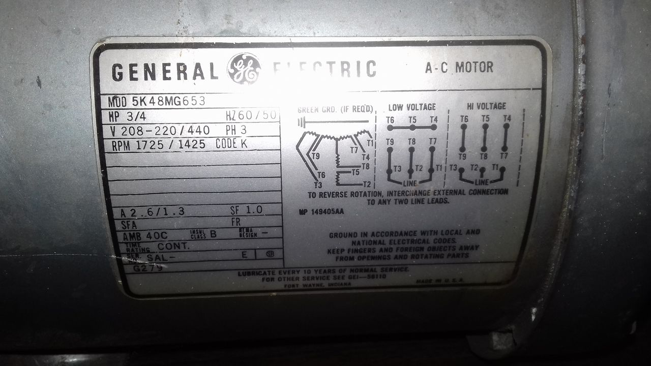 Gast 1022 Rotary Vane Vacuum Pump 3  4 Hp 208 440v