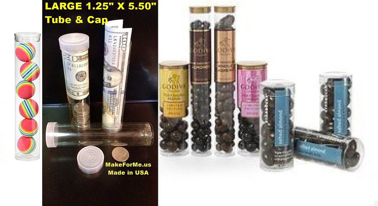 See Through Plastic Tubes & Caps 1.25 x 5.50 from Right-Products.com