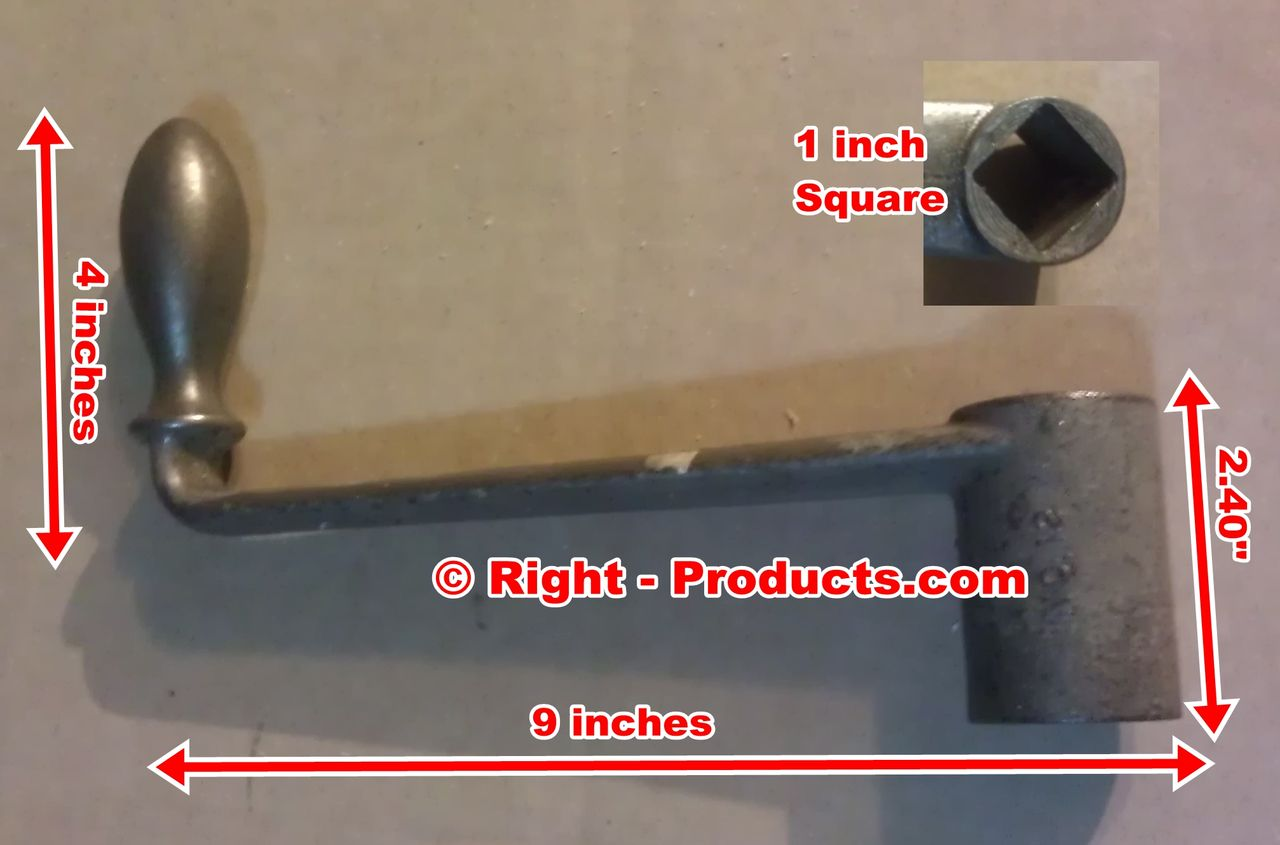 1 inch Square Hole Crank Handle 9 inch Long Forged Steel No 12 - Right-Products.com